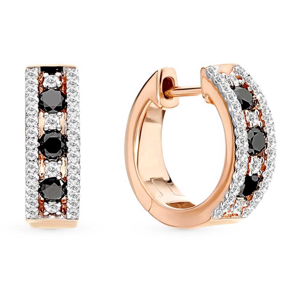 золотые серьги с чёрными бриллиантами и бриллиантами