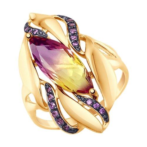 Фото «Золотое кольцо с аметрином и фианитами SOKOLOV 714779*»