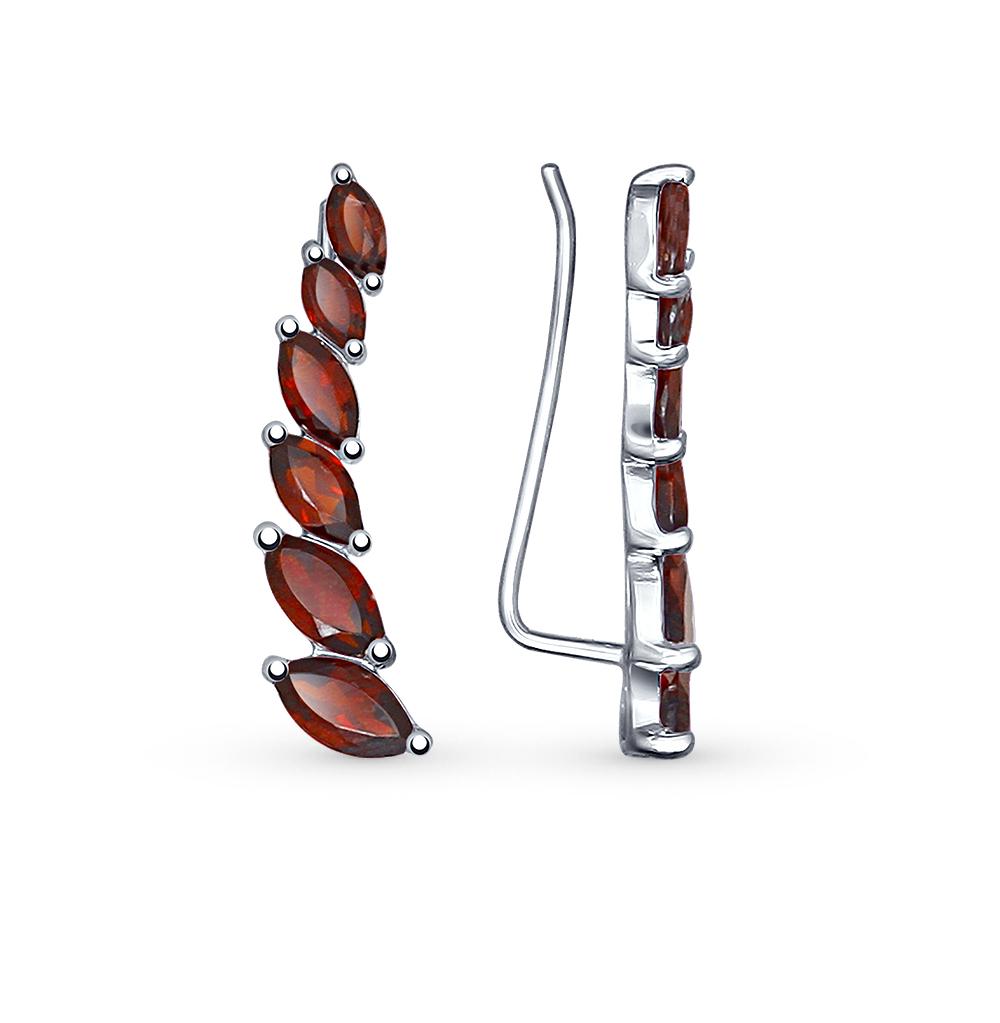 серебряные серьги с гранатом SOKOLOV 92021349