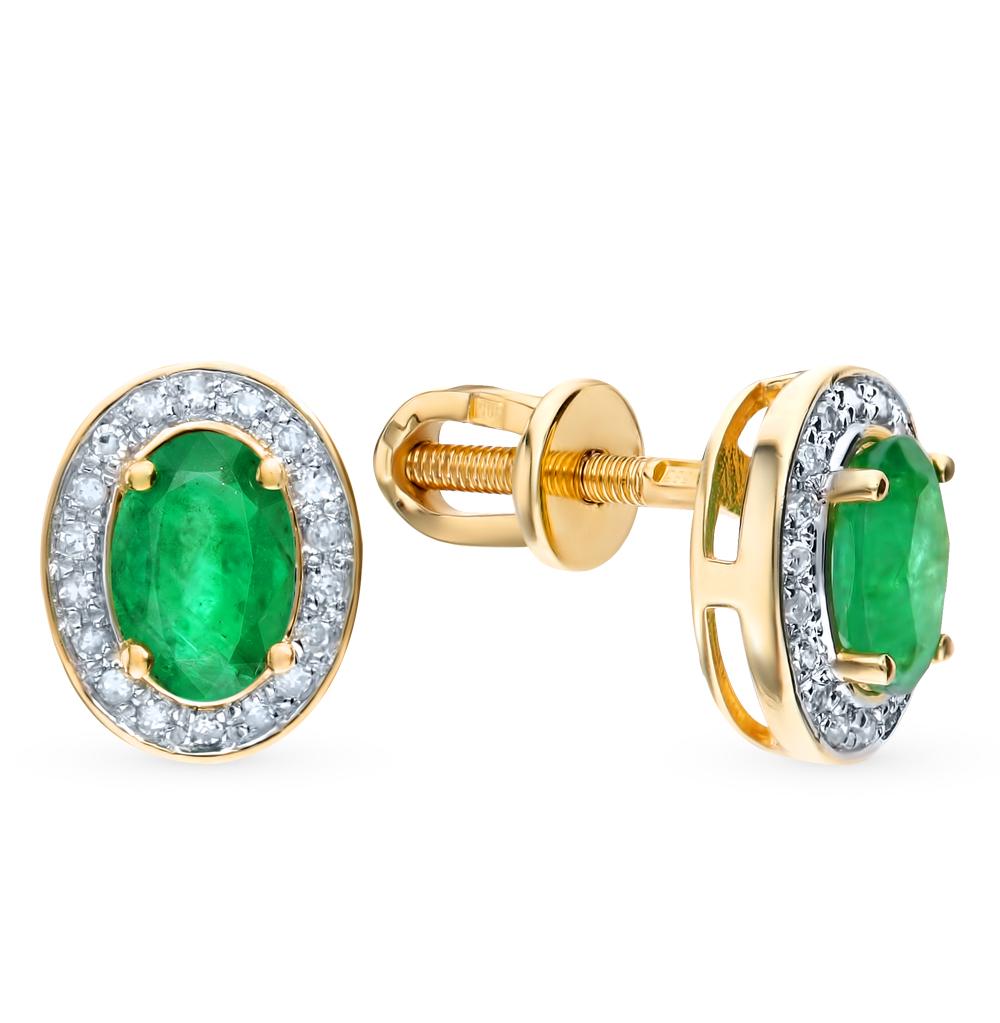 Золотые серьги с изумрудами и бриллиантами в Екатеринбурге