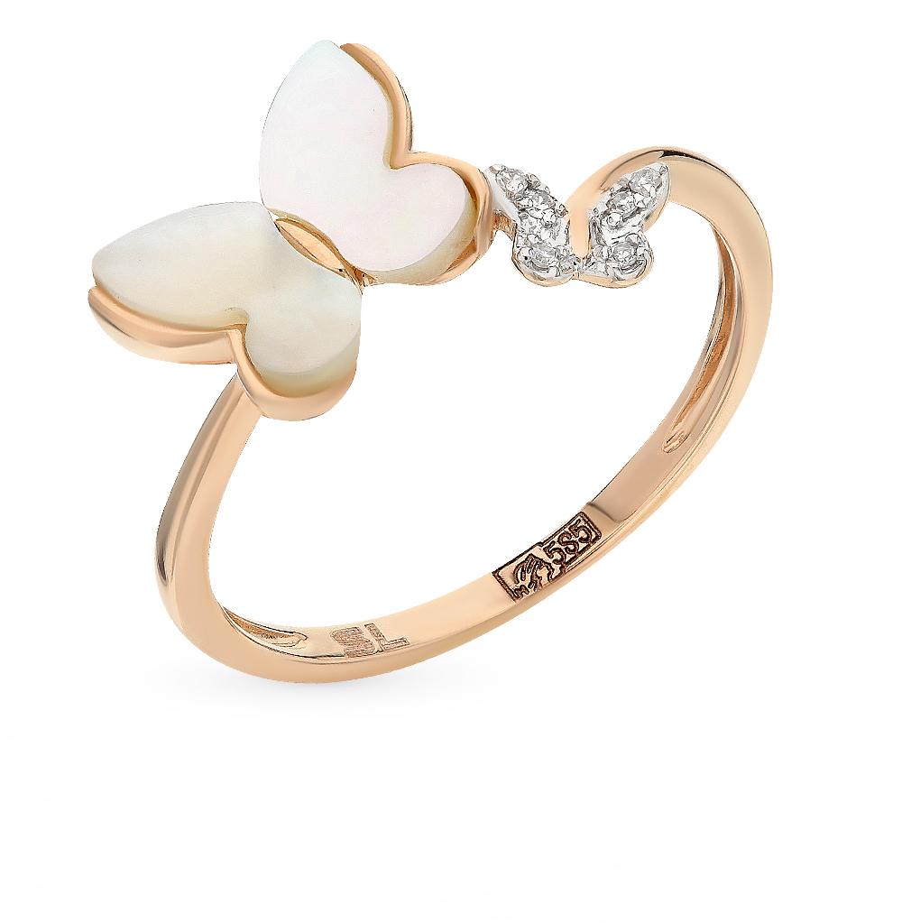 золотое кольцо с перламутром и бриллиантами