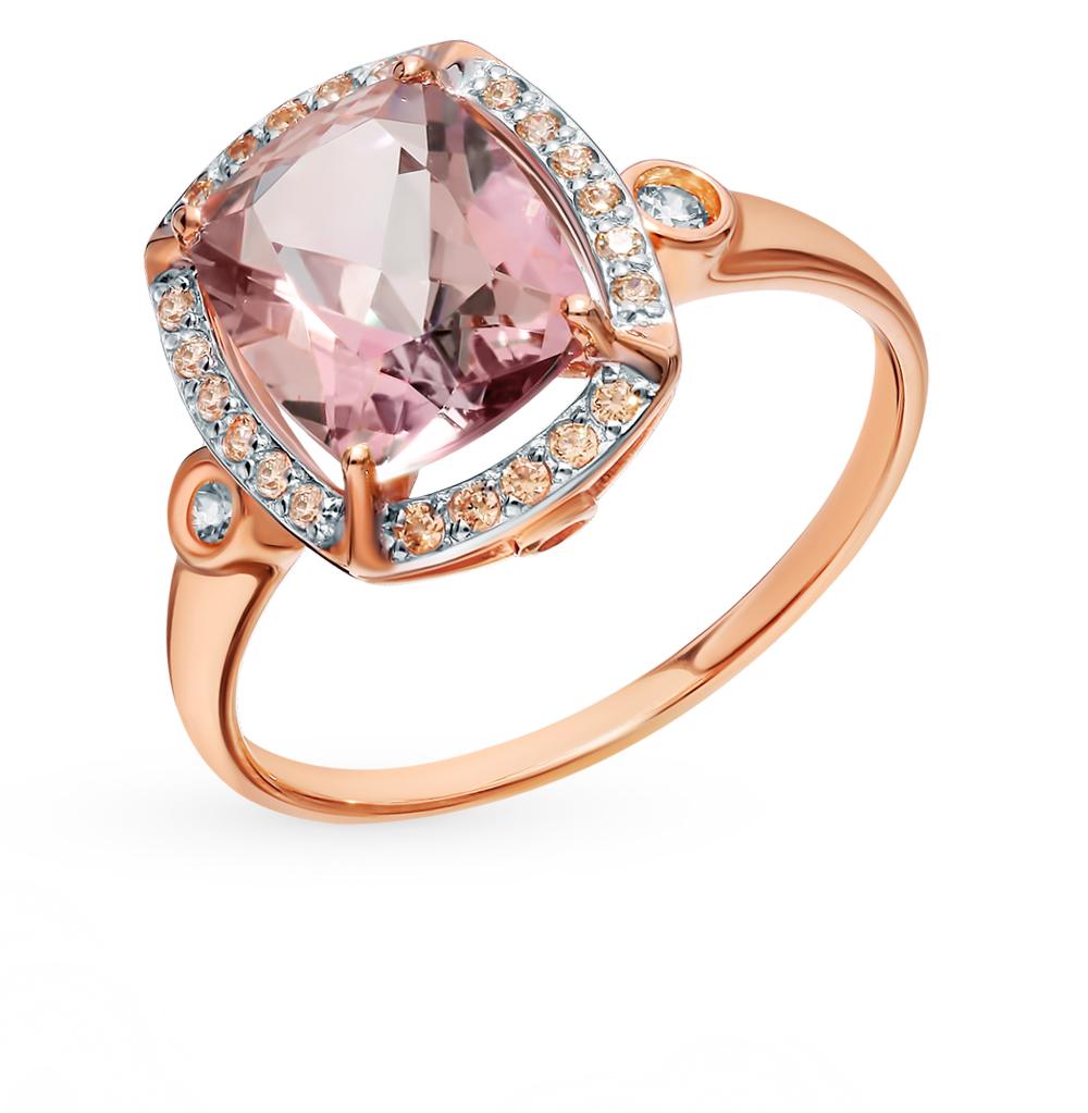 Золотое кольцо с топазом и фианитами SOKOLOV 714984*