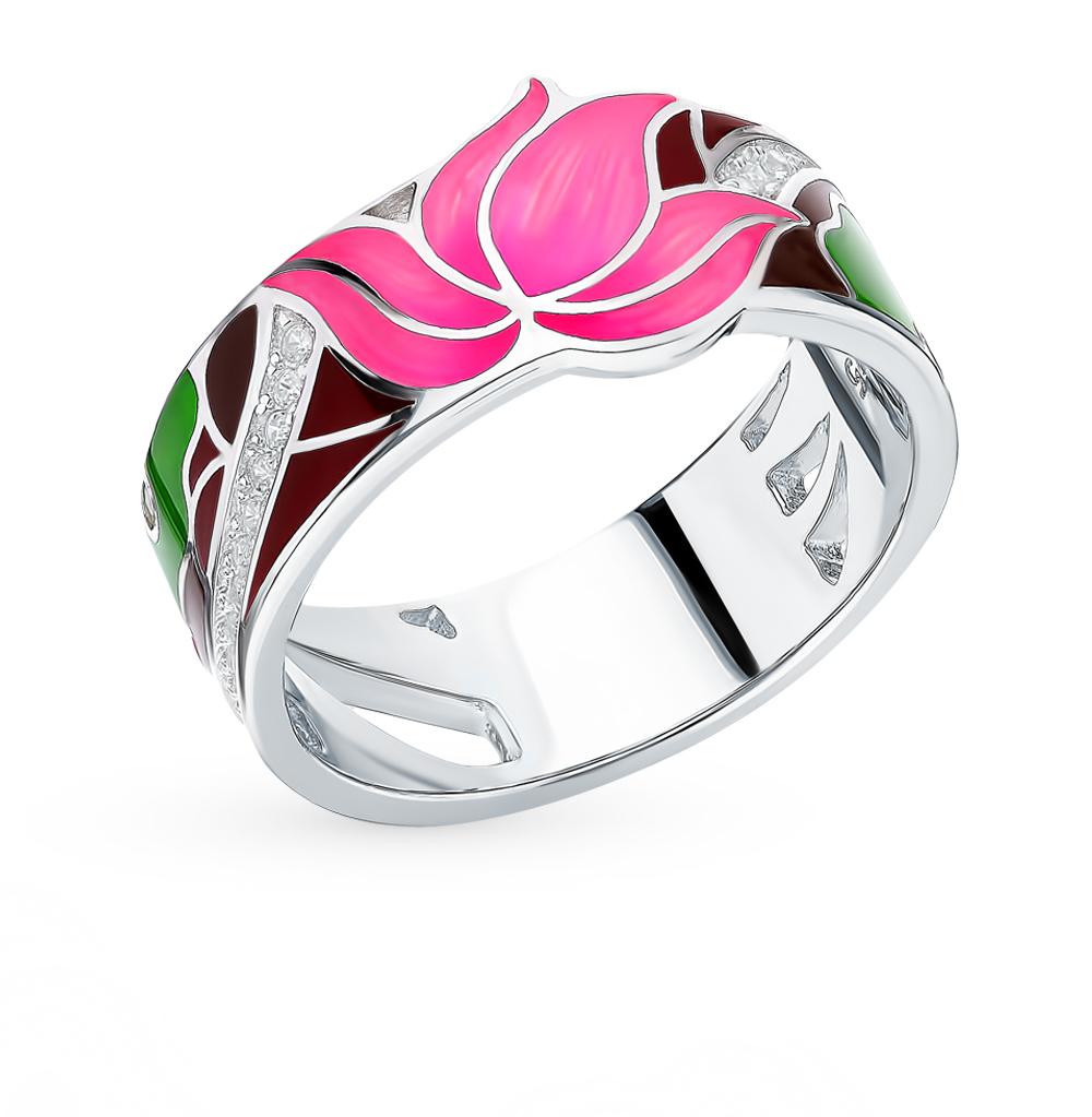 серебряное кольцо с фианитами, эмалью и кубическими циркониями