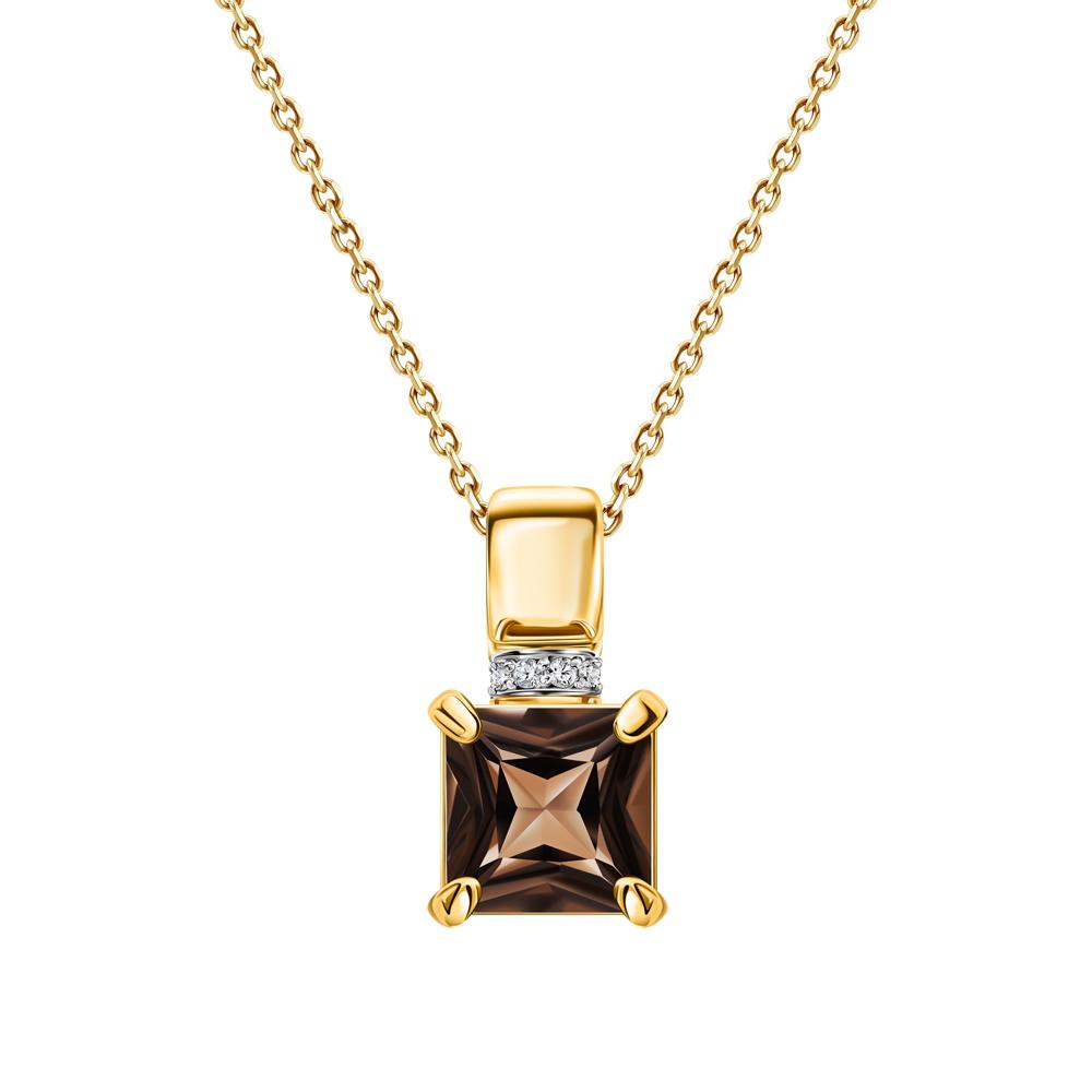 Фото «Золотая подвеска с кварцем дымчатым и бриллиантами»