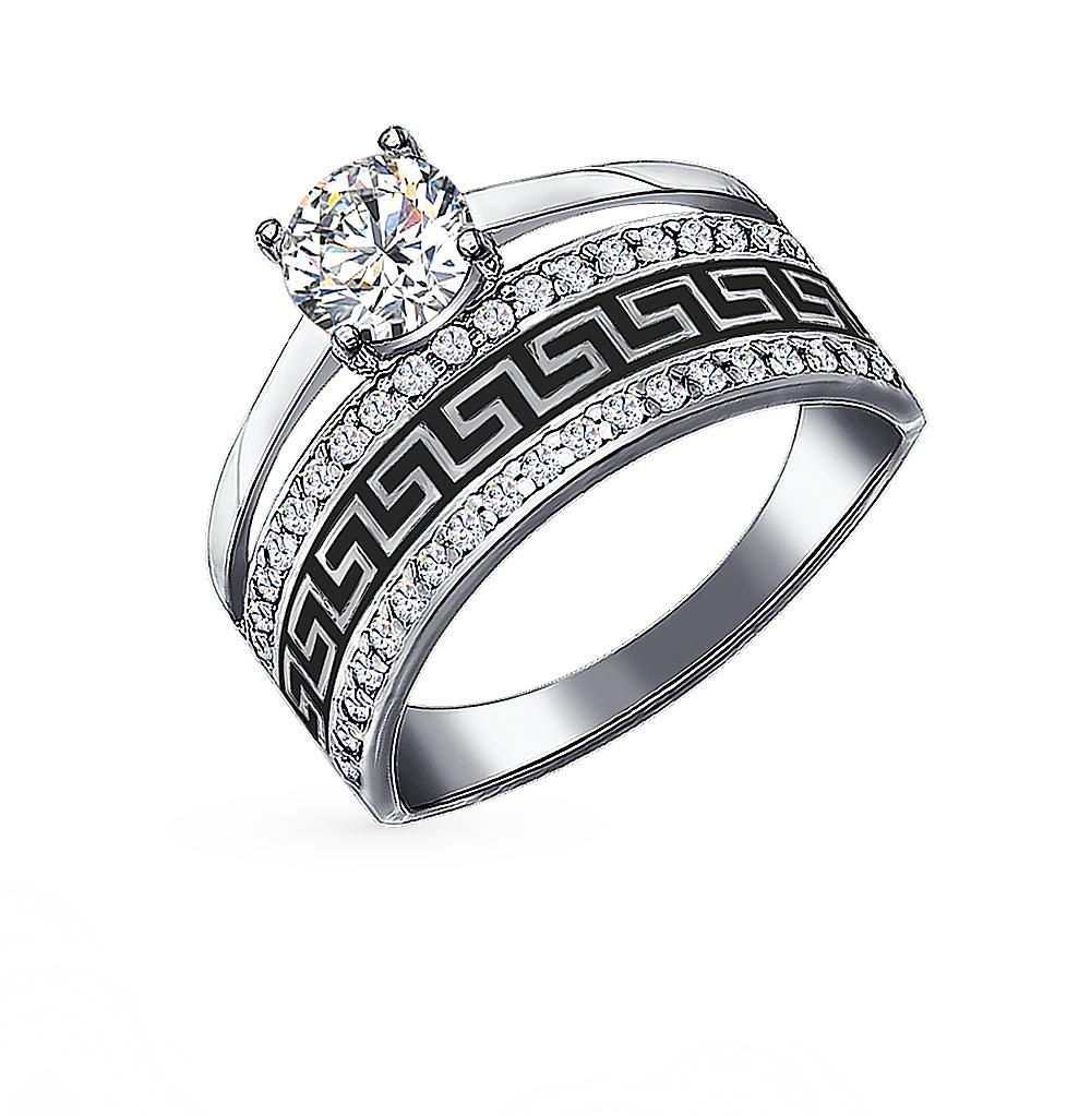 bd5eb8eaff7e Серебряное кольцо с фианитами и эмалью SOKOLOV 94011131  белое ...