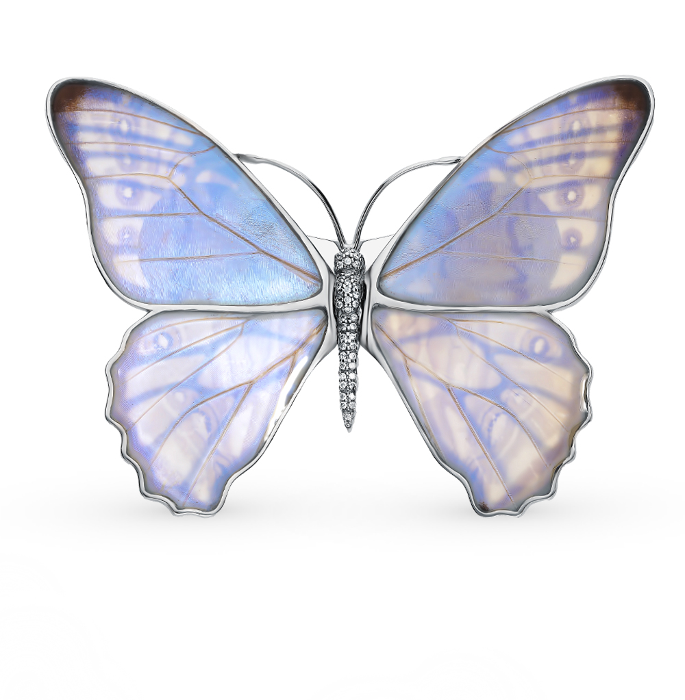 Серебряная брошь с фианитами, эмалью и крыльями бабочки, 9.5 см