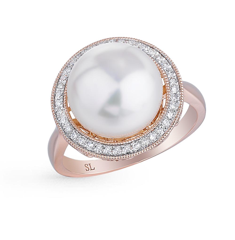 Фото «золотое кольцо с жемчугом, культивированными жемчугами и бриллиантами»