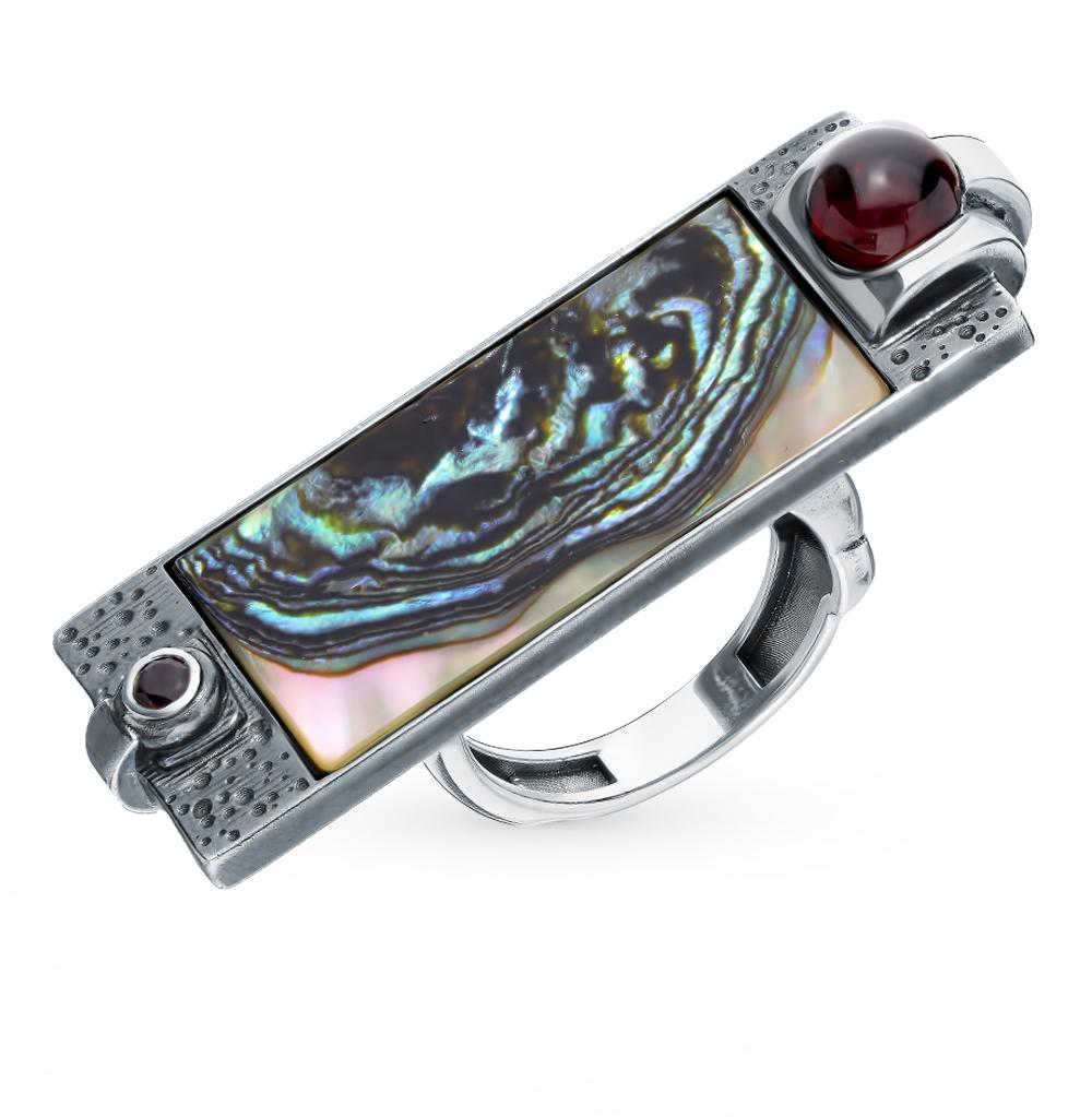 серебряное кольцо с гранатом и перламутром
