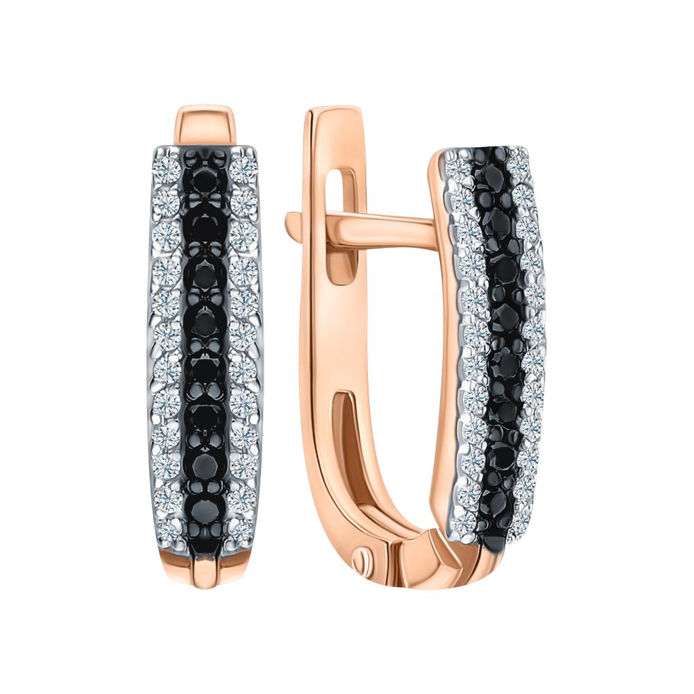 Золотые серьги с чёрными бриллиантами в Санкт-Петербурге