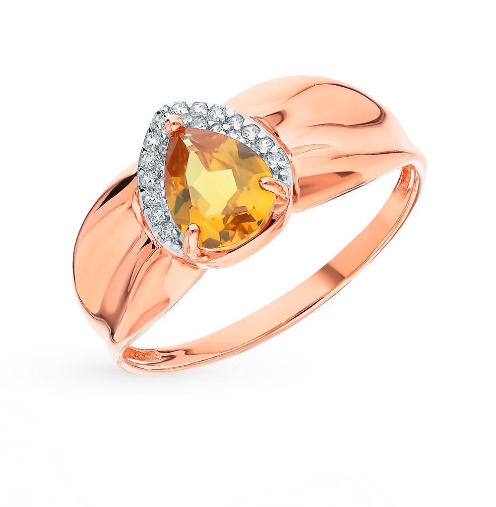 Золотое кольцо с султанитами и фианитами в Екатеринбурге