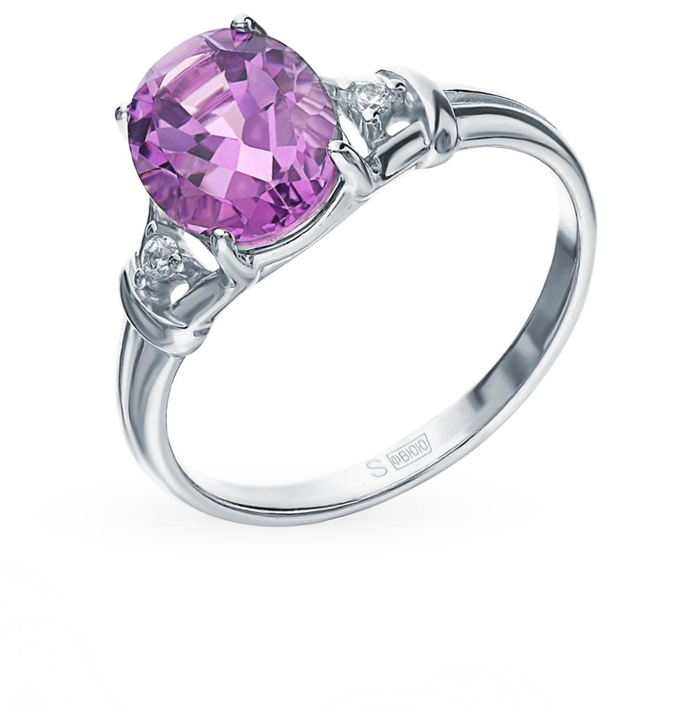 Фото «Серебряное кольцо с аметистом и фианитами SOKOLOV 92011785»