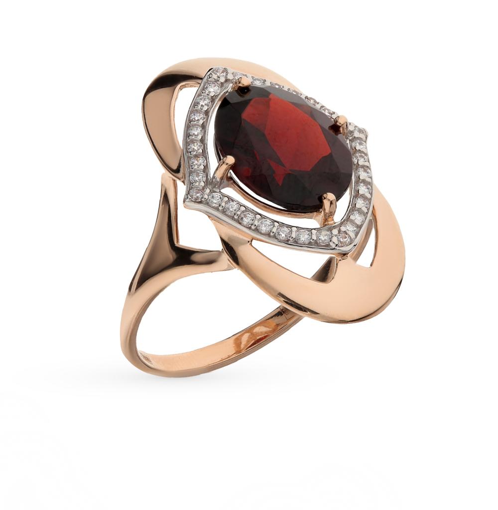 золотое кольцо с фианитами и гранатом SOKOLOV 714391*