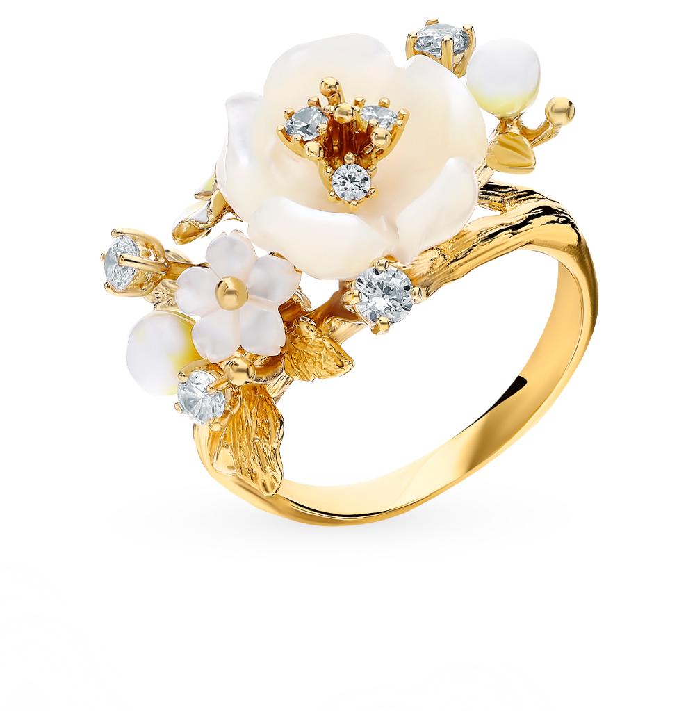 Фото «Серебряное кольцо с фианитами, агатом и перламутром»