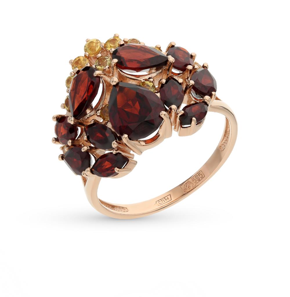 Золотое кольцо с сапфирами и гранатом в Санкт-Петербурге