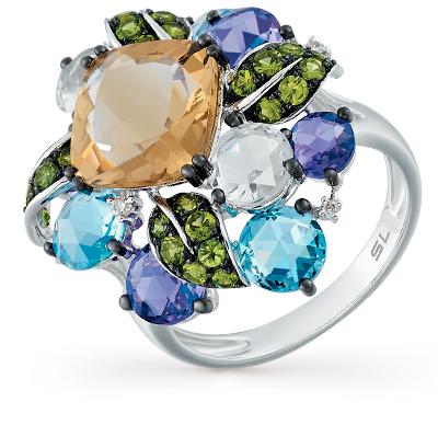 золотое кольцо с аметистом, кварцем, топазами, гранатом и бриллиантами