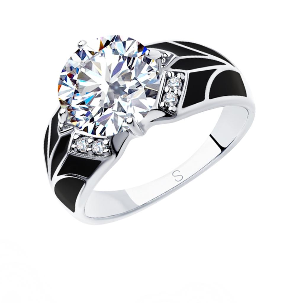 серебряное кольцо с фианитами и эмалью SOKOLOV 94012927