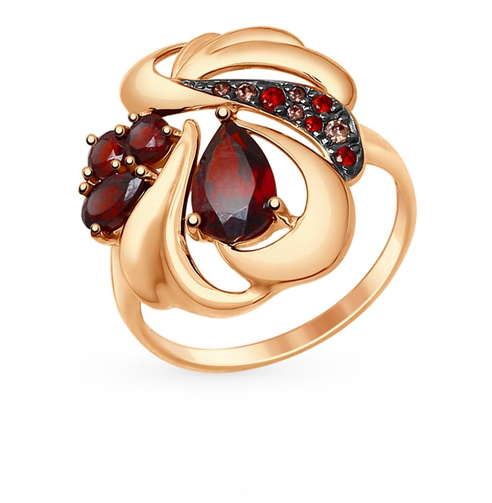 золотое кольцо с фианитами и гранатом SOKOLOV 714720*
