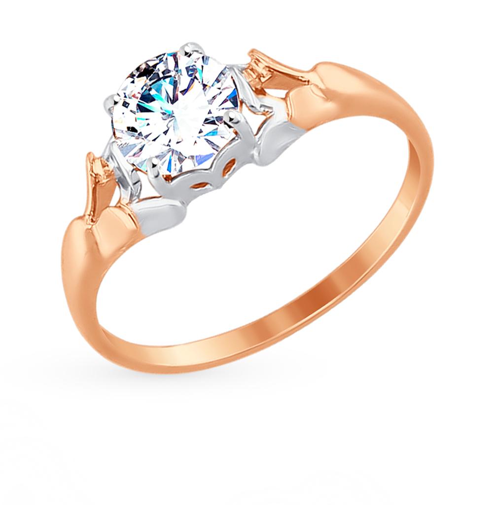 золотое кольцо с фианитами SOKOLOV 81010318*