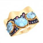 золотое кольцо с топазами и фианитами SOKOLOV 715206