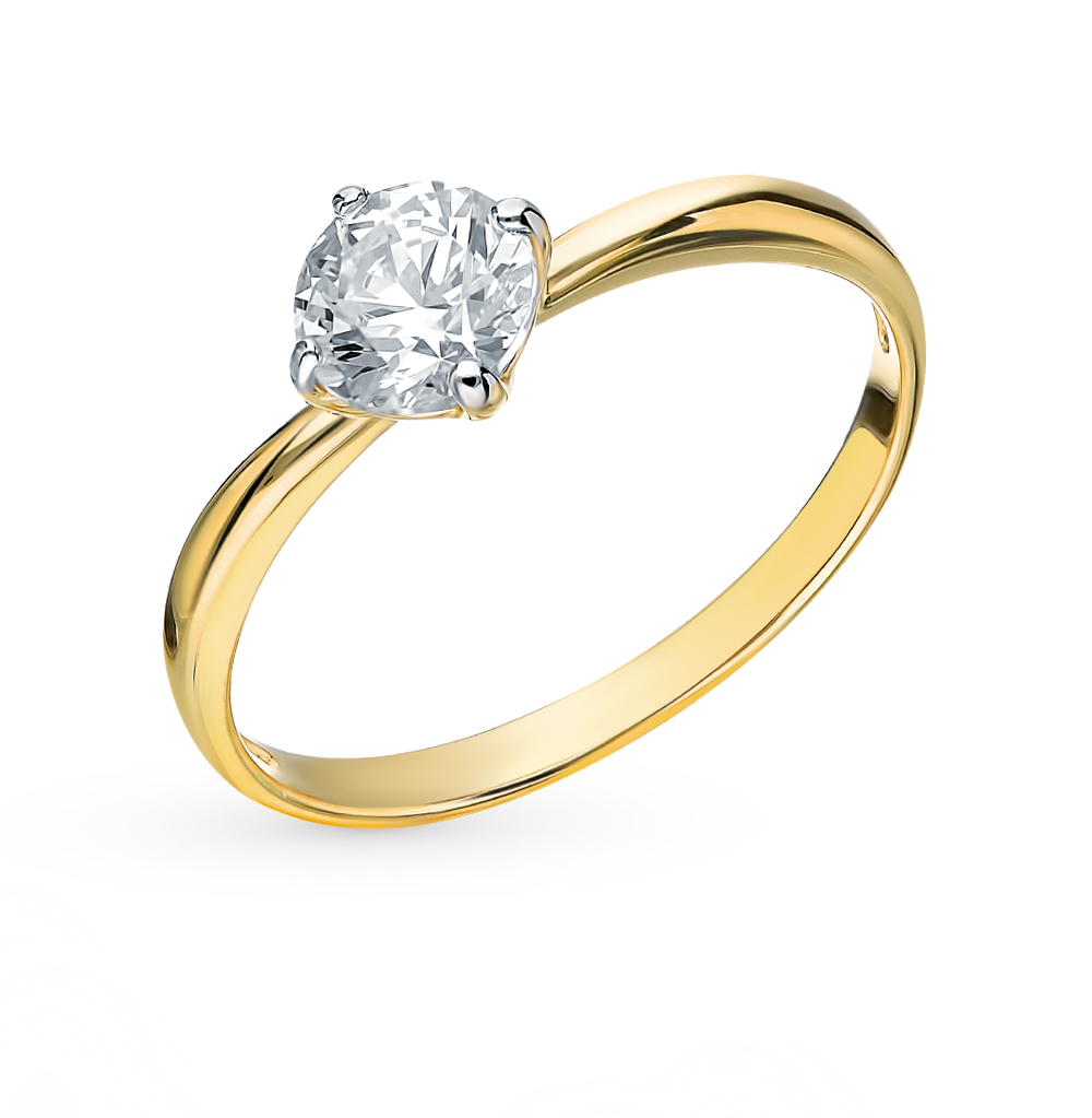 золотое кольцо с фианитами SOKOLOV 81010206-2*