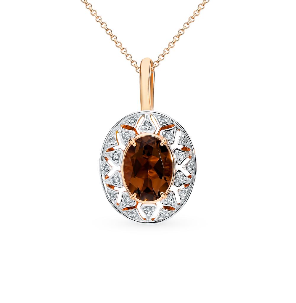 золотая подвеска с раухтопазами (кварцами дымчатый) и бриллиантами
