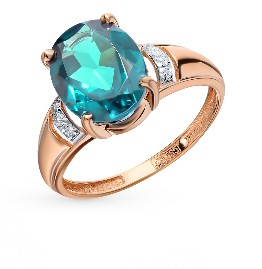 золотое кольцо с фианитами и параиба ситалами