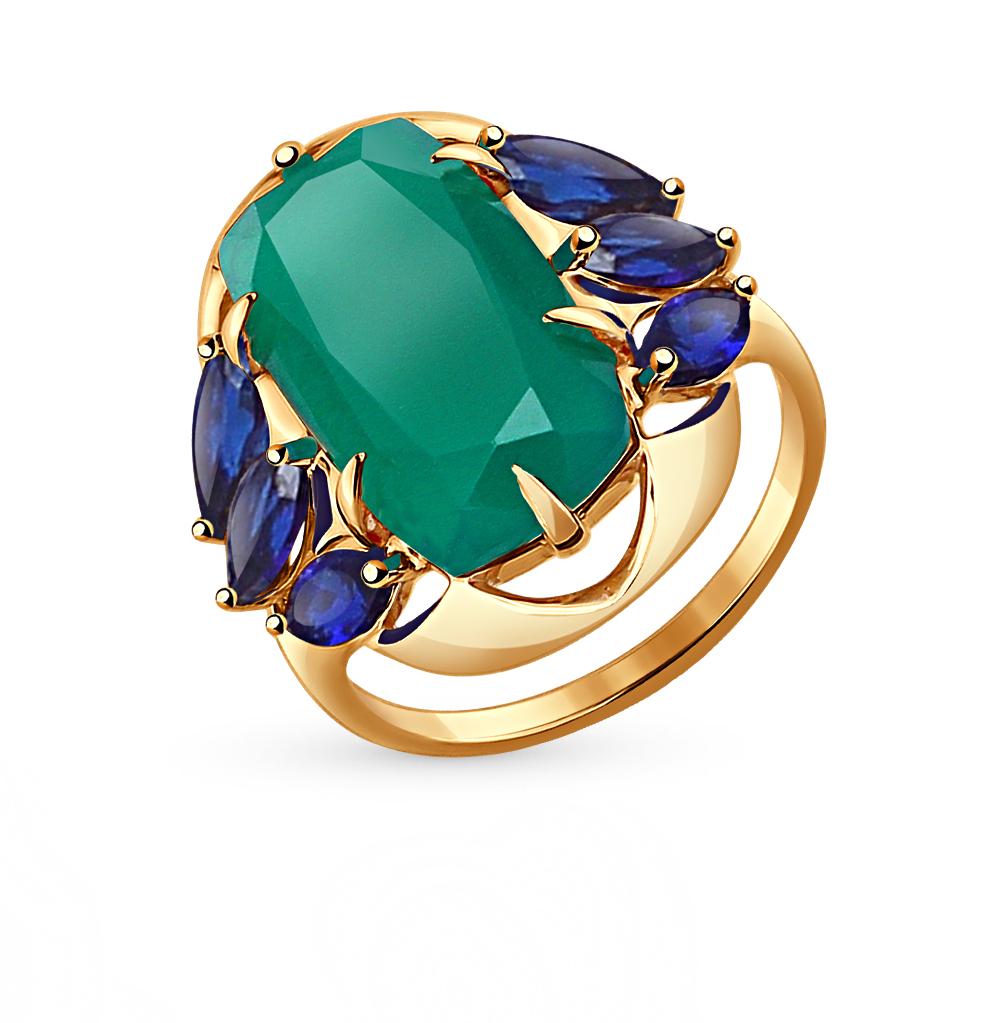 Фото «золотое кольцо с агатом и корундами синтетическими»