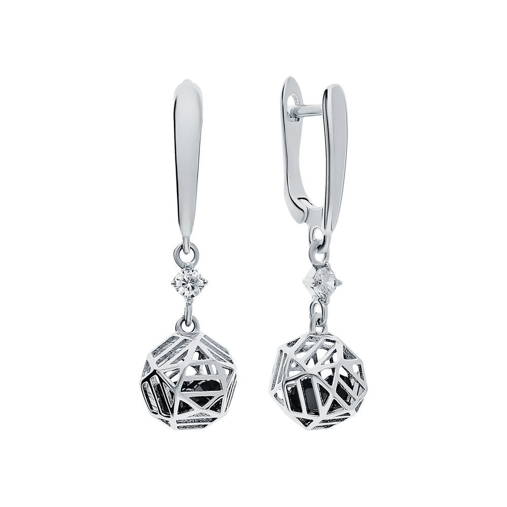 Фото «Серебряные серьги с нанокристаллами и кубическими циркониями»