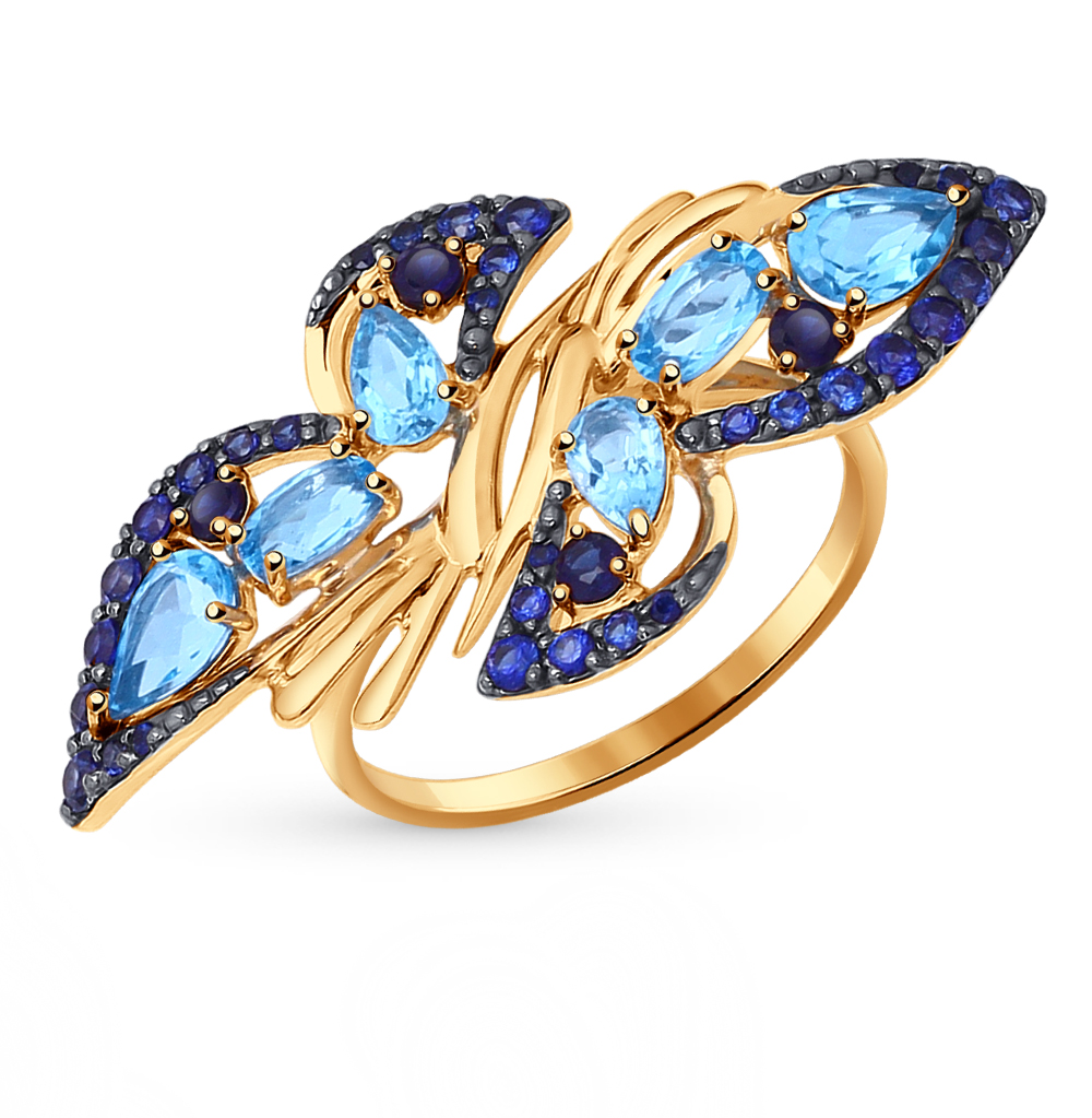 Фото «золотое кольцо с топазами и корундами синтетическими»