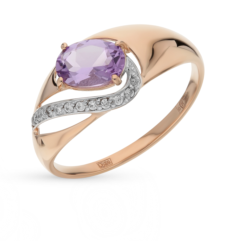 Фото «Золотое кольцо с аметистом и фианитами SOKOLOV 714673*»
