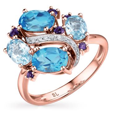 Золотое кольцо с аметистом, топазами и бриллиантами в Санкт-Петербурге