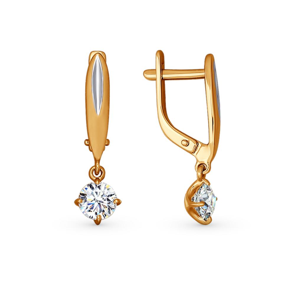 золотые серьги с кристаллами swarovski SOKOLOV 81020166*