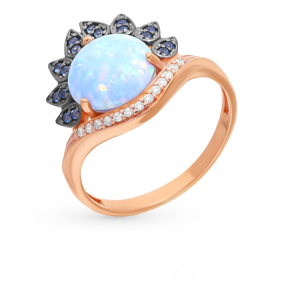 серебряное кольцо с сапфирами, фианитами и опалами