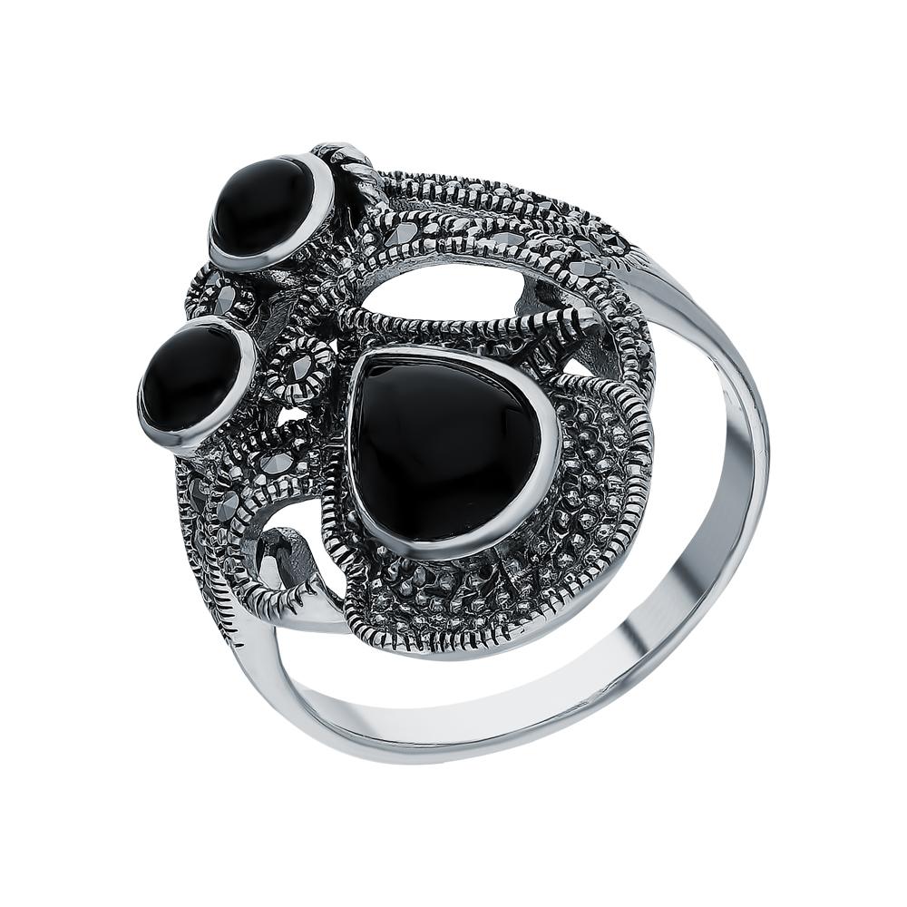 Серебряное кольцо с ониксом и марказитами swarovski в Екатеринбурге