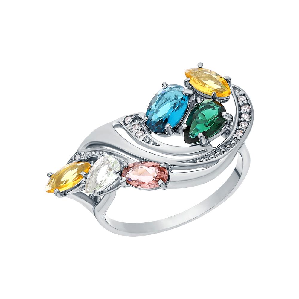 Фото «Серебряное кольцо с морганитами, фианитами, цитринами синтетическими, турмалинами имитациями, лондонами топазами и празиолит»