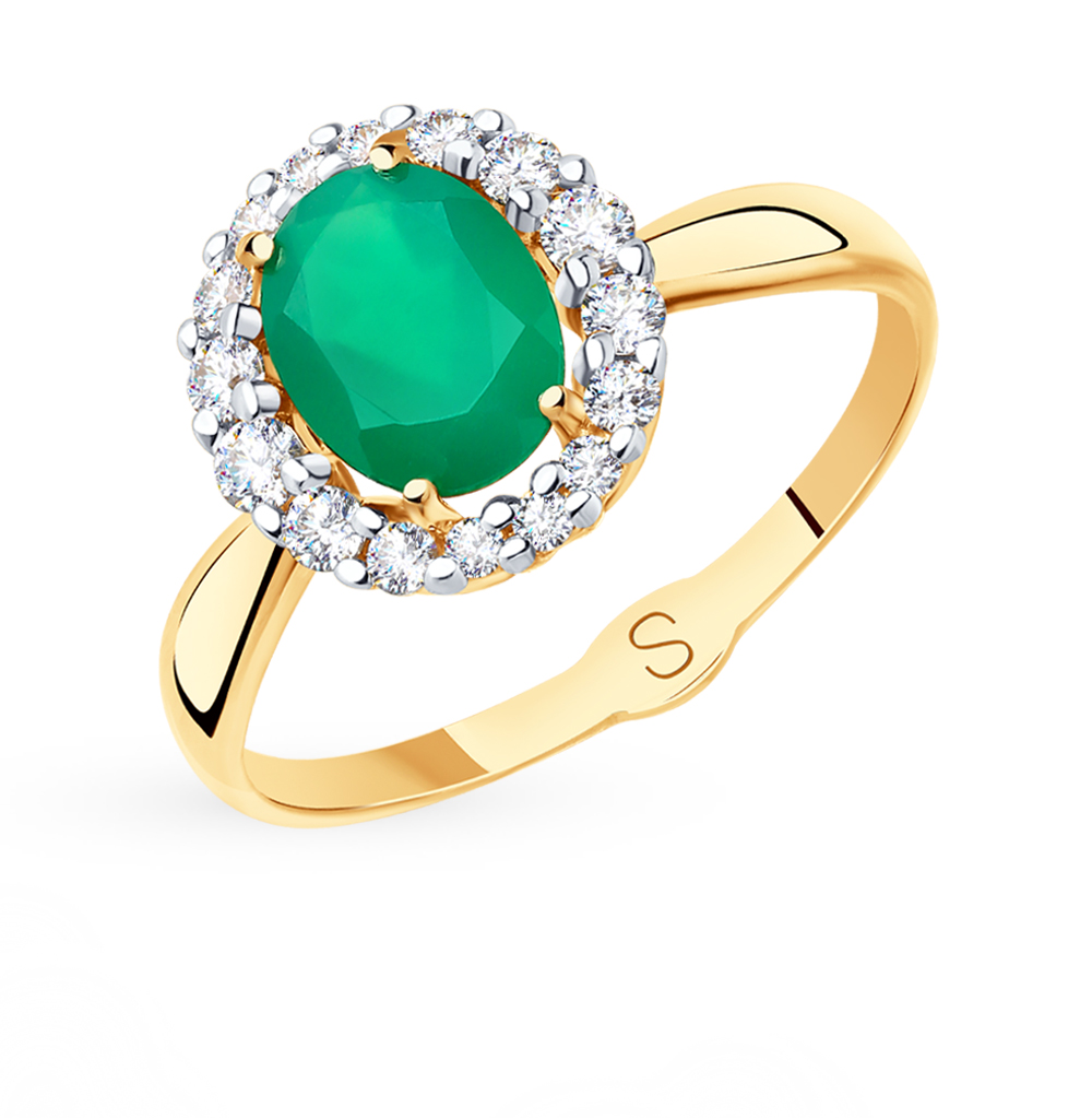 Золотое кольцо с фианитами и агатом SOKOLOV 715400* в Екатеринбурге