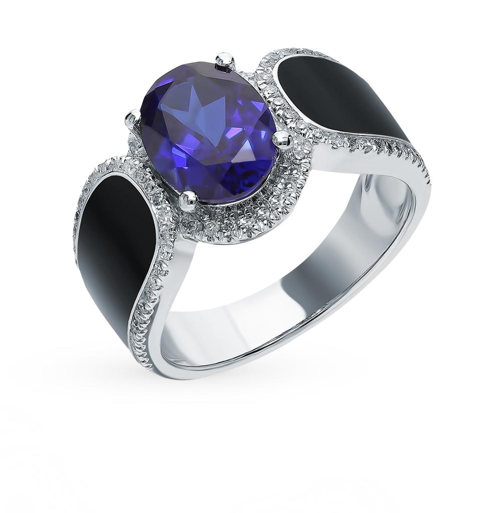Золотое кольцо с сапфиром, эмалью и бриллиантами