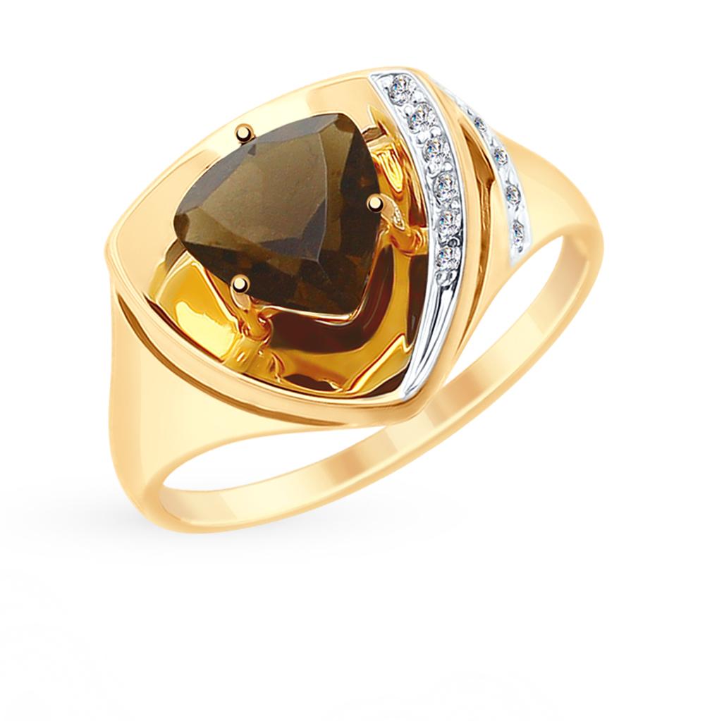 Фото «Золотое кольцо с раухтопазом и фианитами SOKOLOV 715261*»