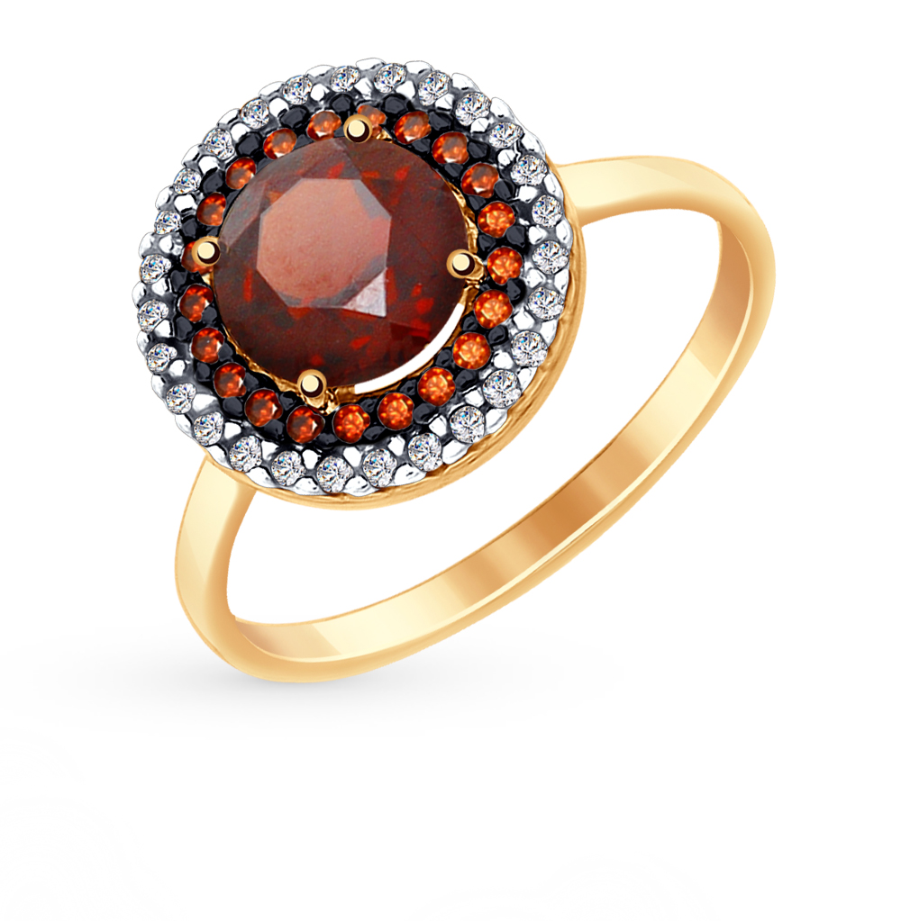 золотое кольцо с фианитами и гранатом SOKOLOV 714974*