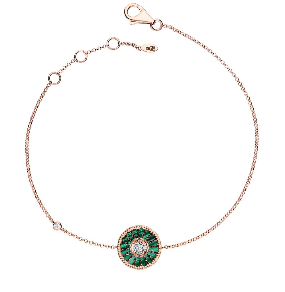 Фото «Золотой браслет с малахитом и бриллиантами»