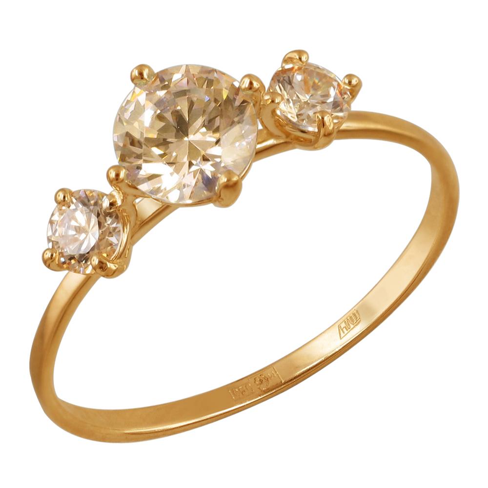 золотое кольцо с фианитами swarovski