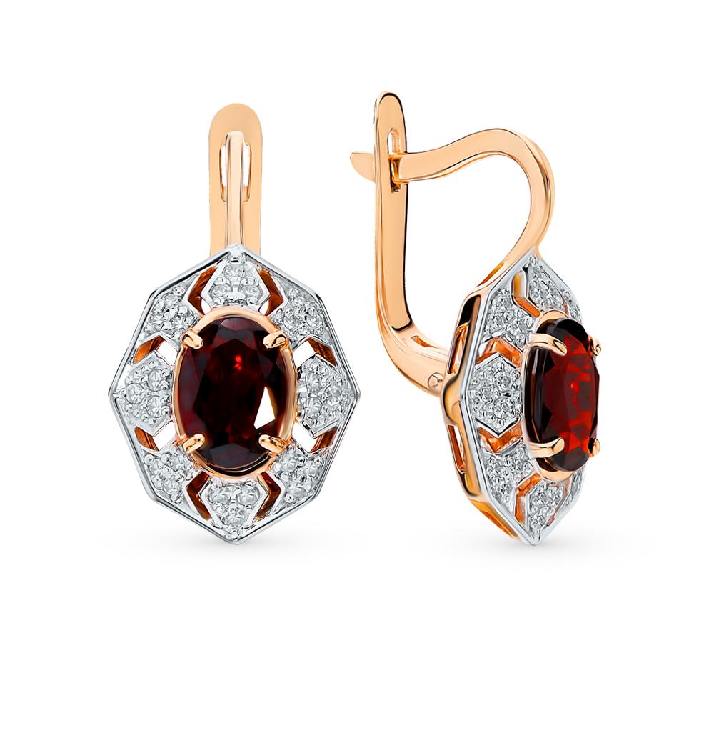 Золотые серьги с гранатом и бриллиантами SUNLIGHT  красное и розовое ... 8d731650287
