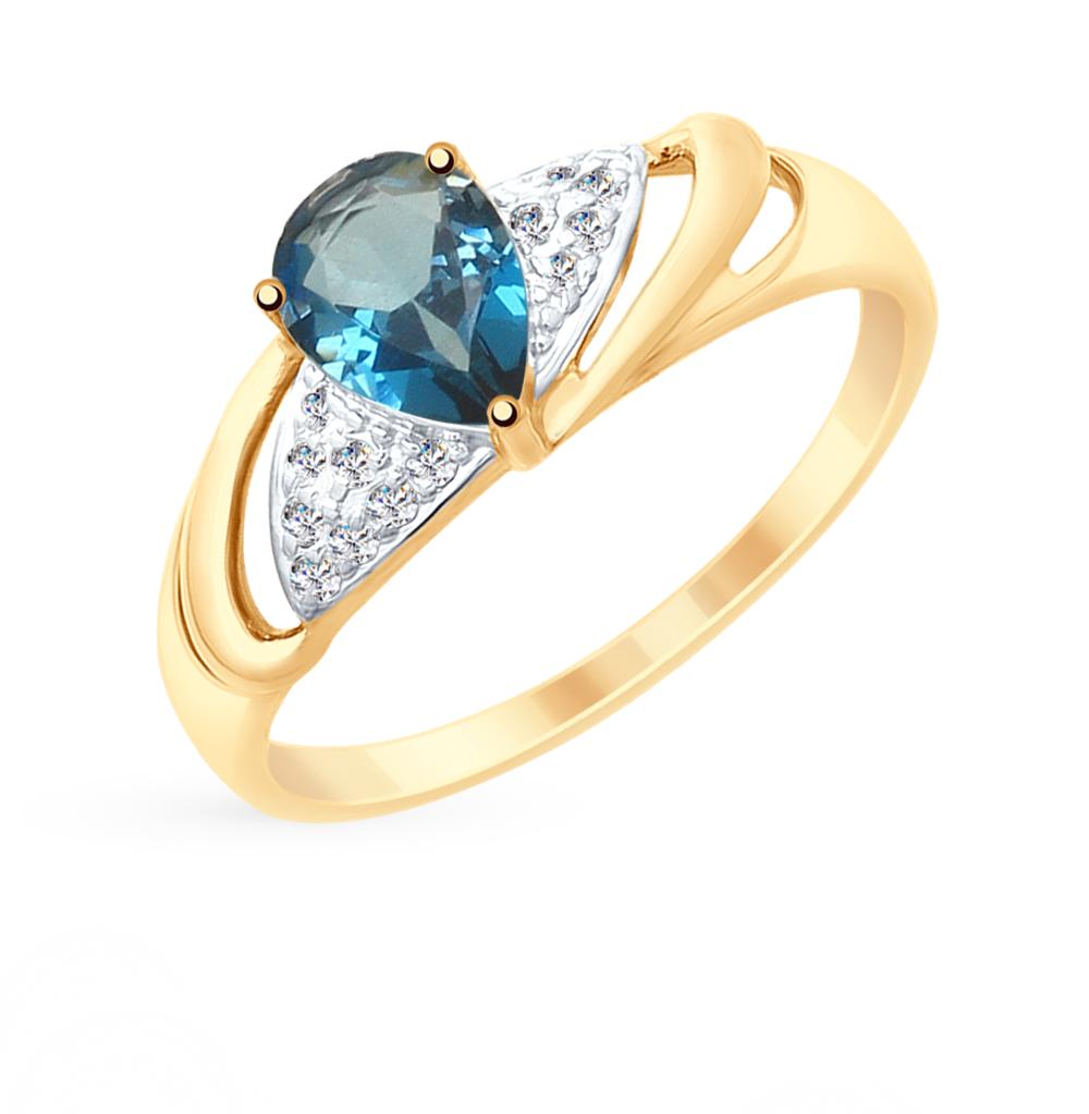 золотое кольцо с топазами и фианитами SOKOLOV 715246*
