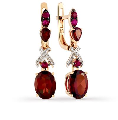 золотые серьги с рубинами, гранатом и бриллиантами