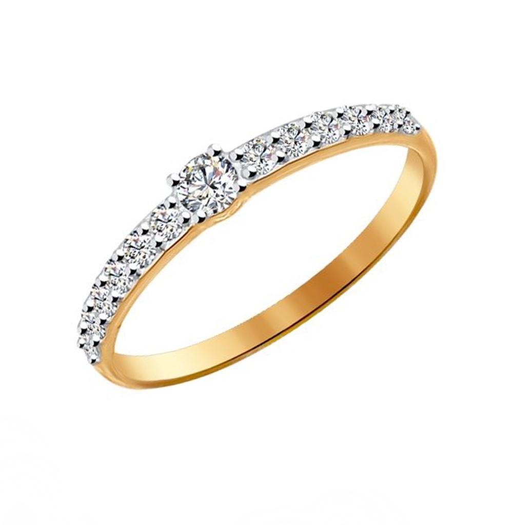 золотое кольцо с фианитами SOKOLOV 81010230