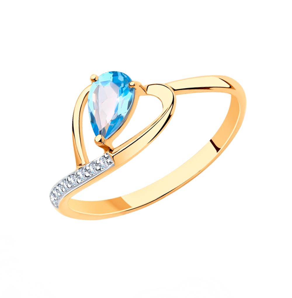 золотое кольцо с топазами и фианитами SOKOLOV 715934*