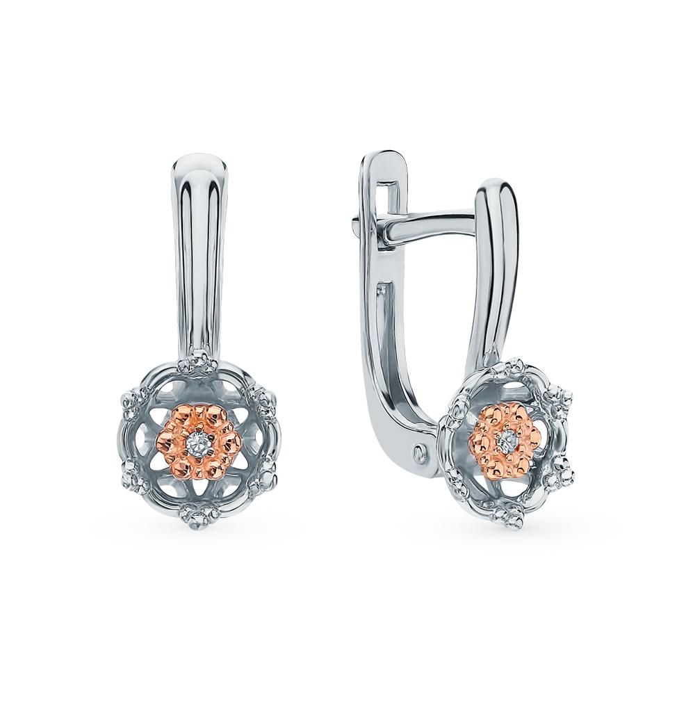 Серебряные серьги с бриллиантами в Санкт-Петербурге