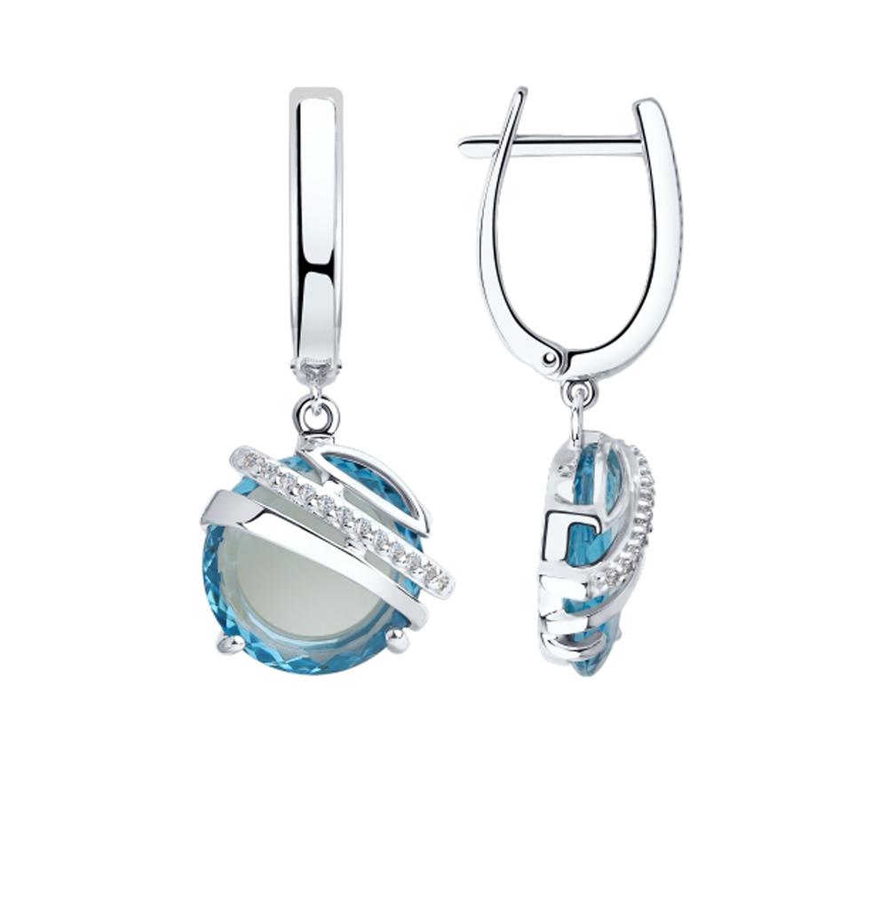 Серебряные серьги с фианитами и ситаллами SOKOLOV 92022033 в Санкт-Петербурге