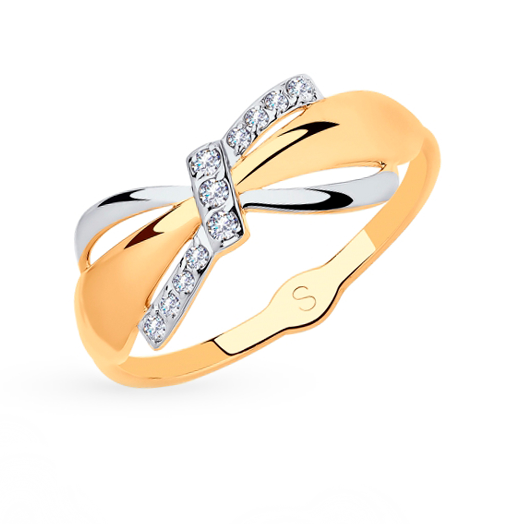 Фото «Золотое кольцо с фианитами SOKOLOV 018059*»
