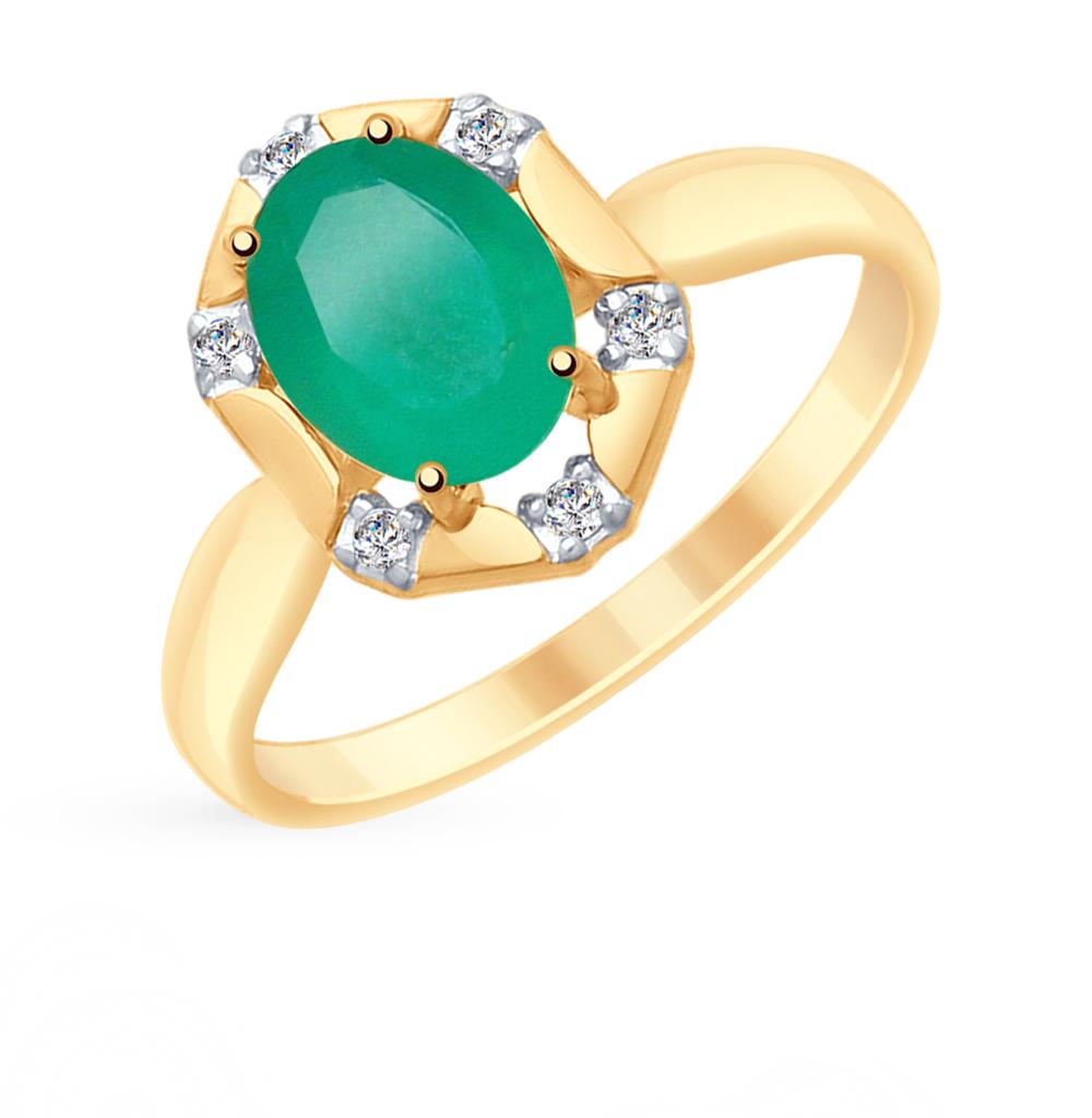 золотое кольцо с фианитами и агатом SOKOLOV 715295*